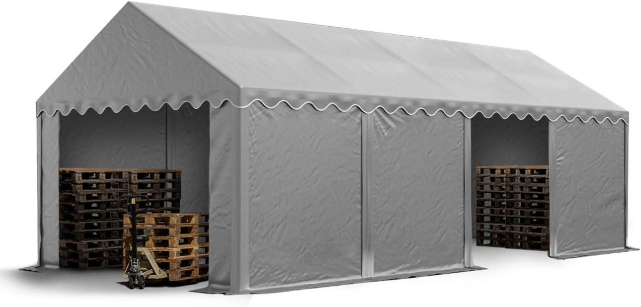 TOOLPORT Carpa de almacén 4x8m Carpa de pastoreo con Aprox. 500g/m² de Lona PVC Impermeable Gris