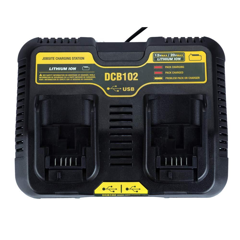 DCB102 Batería de ion de litio USB Puerto doble cargador 3.0 ...