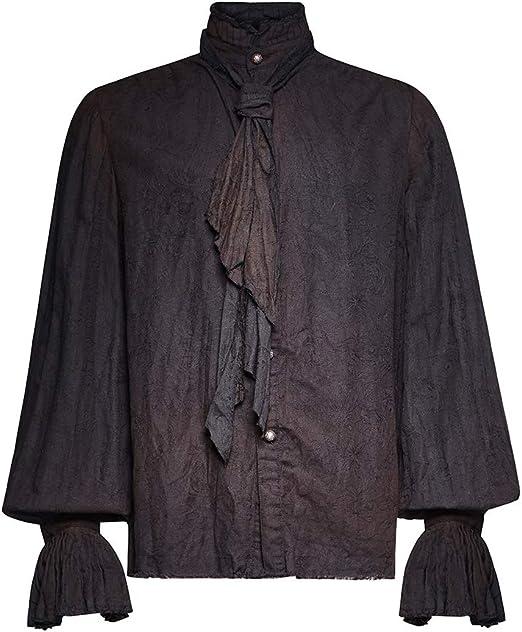 Nueva Camisa Holgada Pirata gótica de los años 80, Blanca/Negra ...