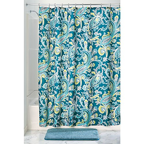 InterDesign Multi Harper Paisley Fabric Shower Curtain - 72 x 72, Teal