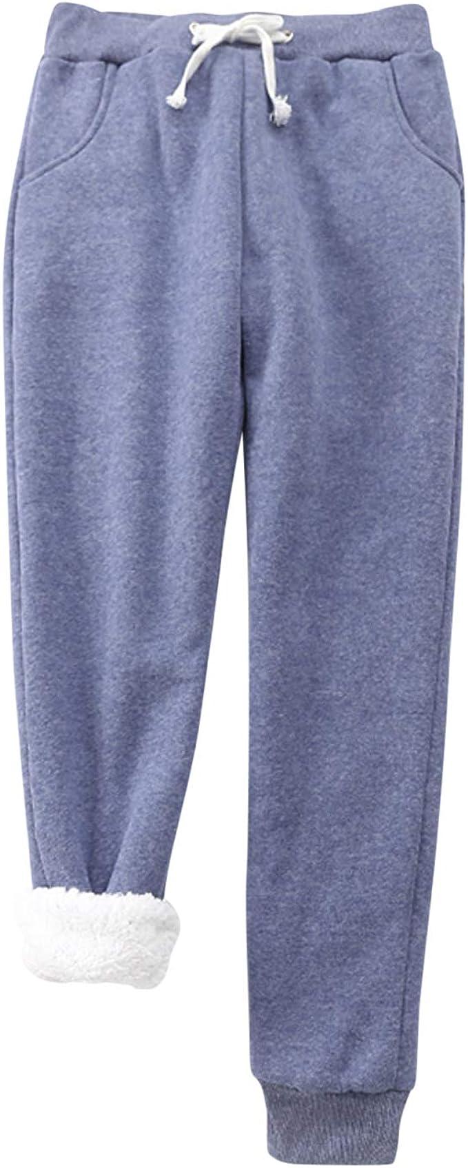 Pantalones de chándal con Forro Polar para Mujer, sólidos, Suaves ...