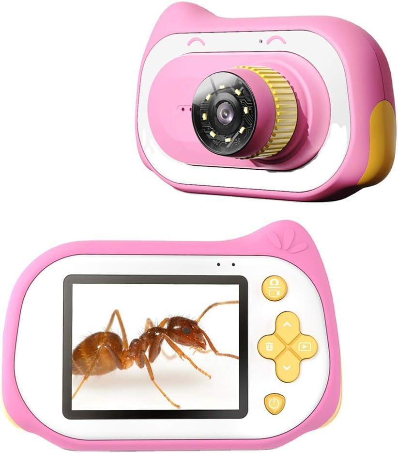 Caige Mini microscopio de la cámara, microscopio Digital USB 1-200X 2 Pulgadas, para los niños Tallado Multi Aprendizaje Uso,Rosado