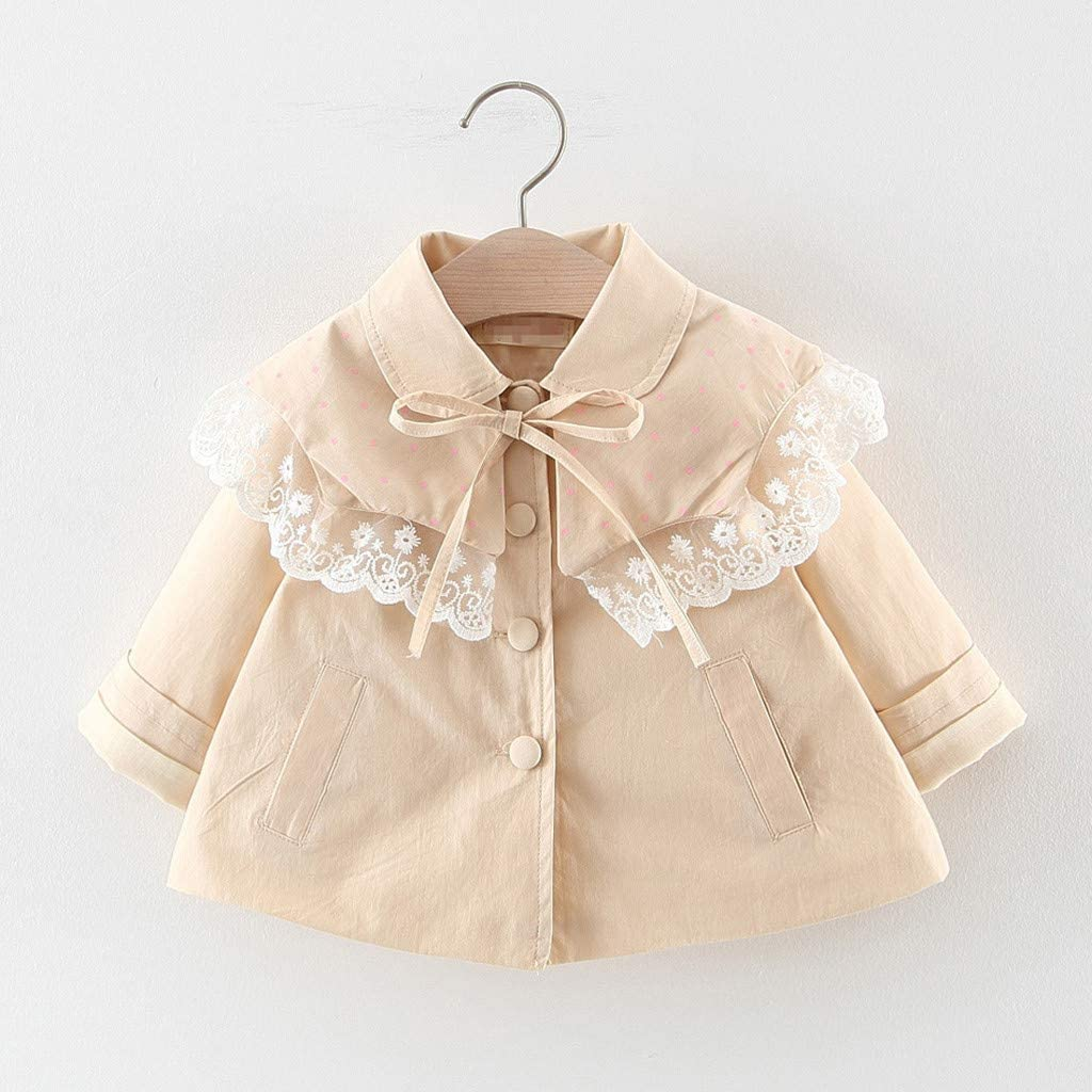 Lnahui Kids Girls Outwear Autumn Winter Long-Sleeved Solid Color Lace Ruffles Bow Tie Coat Jacket