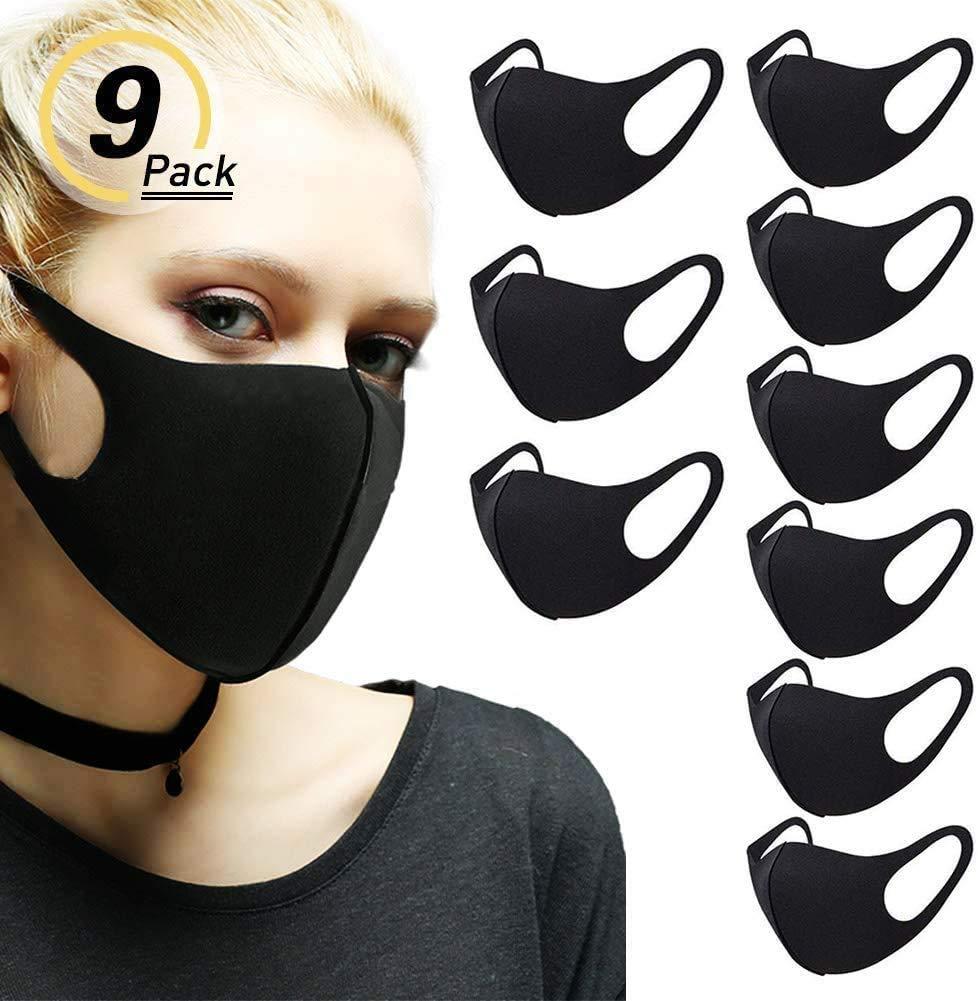 Flyglobal 9Pack Máscara Antipolvo para la Boca, Reutilizable, Lavable, Unisex, Color Negro