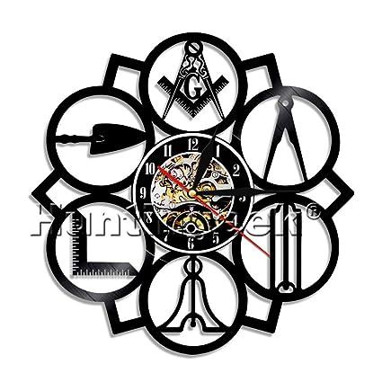 Amazon.com: Masonic Free Mason Logo Vinyl Record Wall Clock Vintage ...