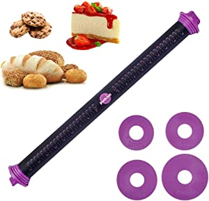 23.6 inch Adjustable Silicone Rolling Pin Dough Roller with Thickness Rings Guides for Baking Fondant, Pizza, Pie, Pastries, Pasta and Cookies by PROKITCHEN (Purple)