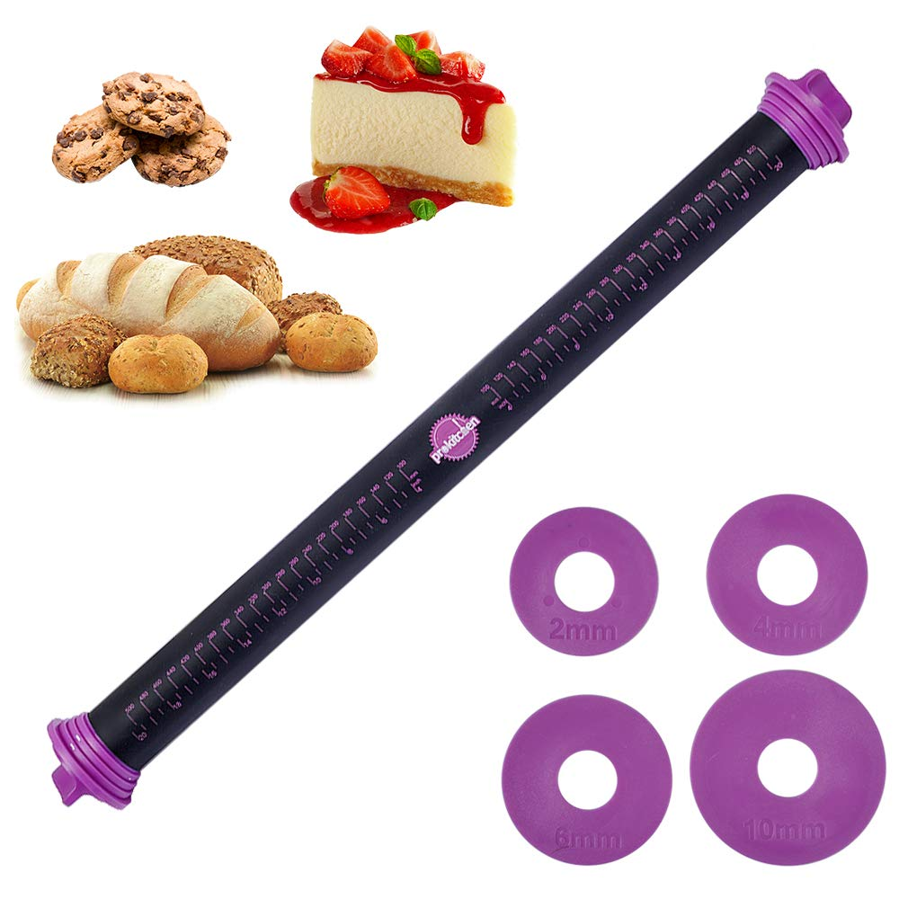 23.6 inch Adjustable Silicone Rolling Pin Dough Roller with Thickness Rings Guides for Baking (Purple) by PROKITCHEN