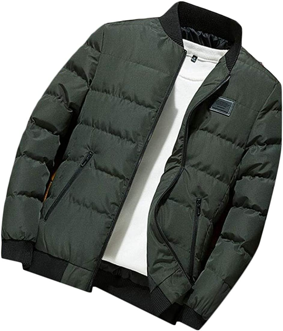 hower Men Winter Thicken Quilted Coat Zipper Padded Down Jackets Parkas