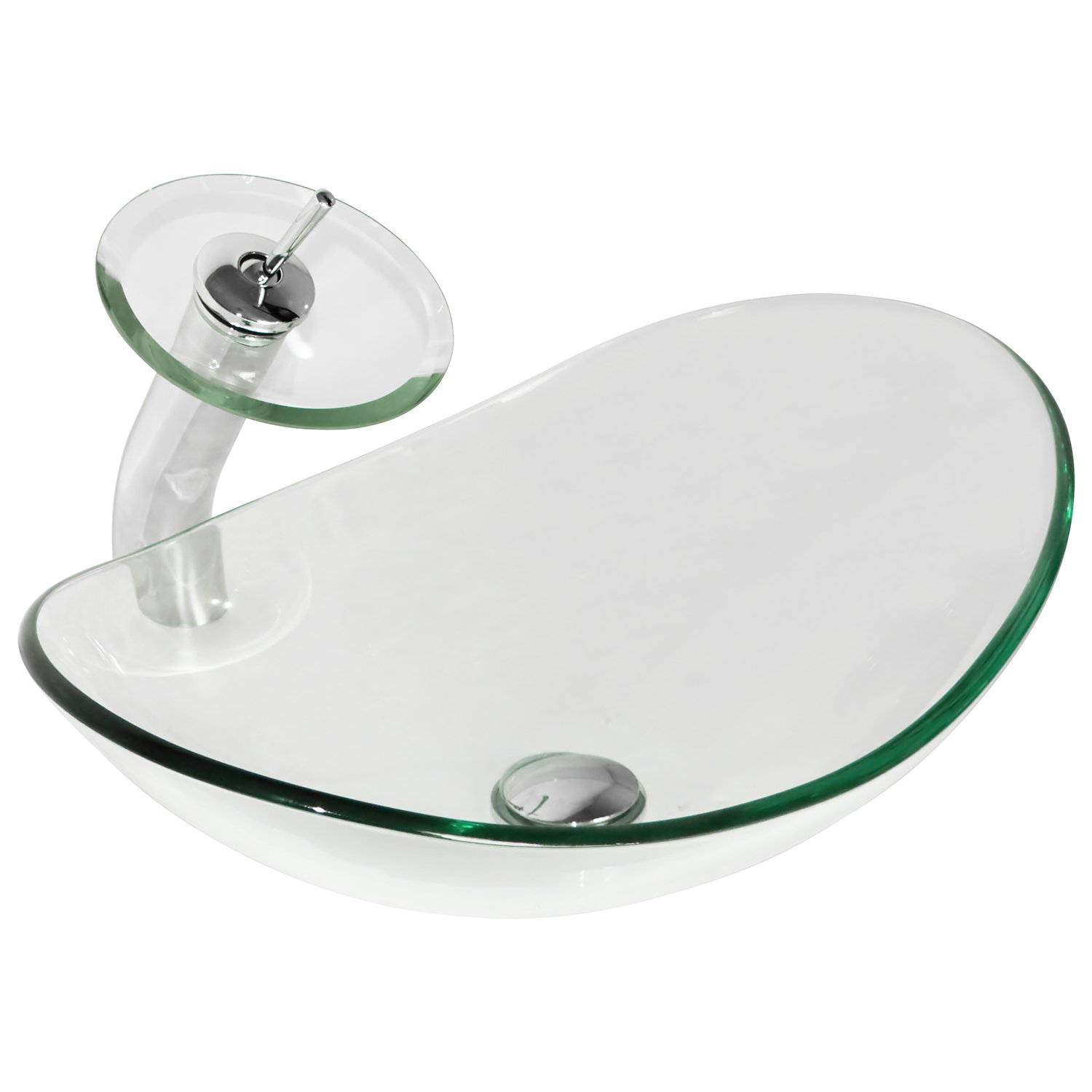 Walcut Green Light Series Oval Temepered Glass Vessel Sink Bath Sink Bowl With Art Waterfall Faucet Set