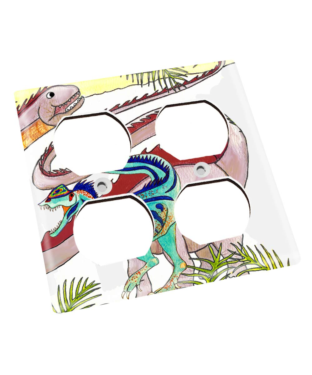 Blue Green Dinosaur Nursery Bedroom Light Switch Cover LS0107 (Double Outlet) by Toad and Lily