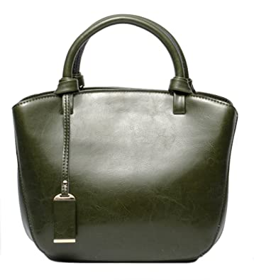 c6656a3274 Amazon.com  Covelin Genuine Leather Handbag Womens Retro Middle Size Tote  Shoulder Bag Army Green  Shoes