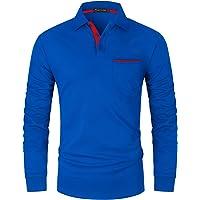 GHYUGR Polos Hombre Manga Larga con Bolsillo Colores de Contraste Poloshirt Camisa Otoño Golf T-Shirt Trabajo Camisetas