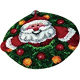 Baoblaze DIY 円形 カーペット ラッチフック敷物 クッション ラッチ フックキット 50x50cm 全6色 - サンタクロース