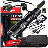 Klarus Upgraded XT11GT WEAPON BUNDLE w/ LED Tactical Rechargeable Flashlight, 18650 Battery, TRS1 Remote Pressure Switch, Offset Gun Mount, USB Cable, Lanyard, Holster, Pocket Clip, and USB Mini Light