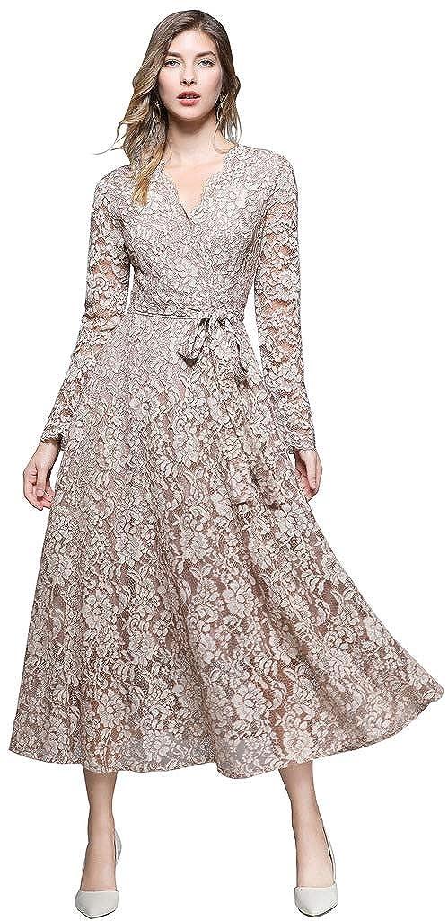8cfa244aa1c Ababalaya Women s Elegant Faux Wrap Long Sleeve Full Lace Maxi Runway  Evening Dress Belted at Amazon Women s Clothing store