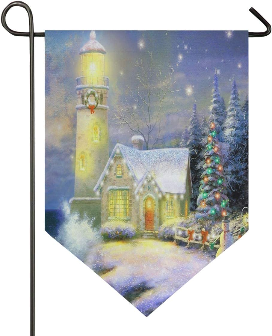 Oarencol Christmas Lighthouse Snowman Winter Snowflake Garden Flag Trees Xmas Holidays Sea Snow Double Sided Home Yard Decor Banner Outdoor 12.5 x 18 Inch