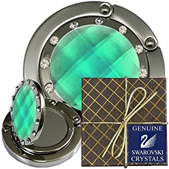 Chatt Green & Swarovski PP24 Crystal, FOLDING Purse Hook w/MIRROR, Pouch, Gift Box