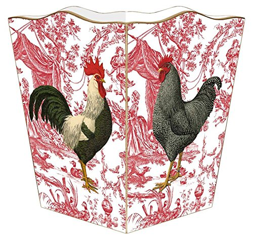 WB288-Roosters on Red Toile Wastepaper Basket