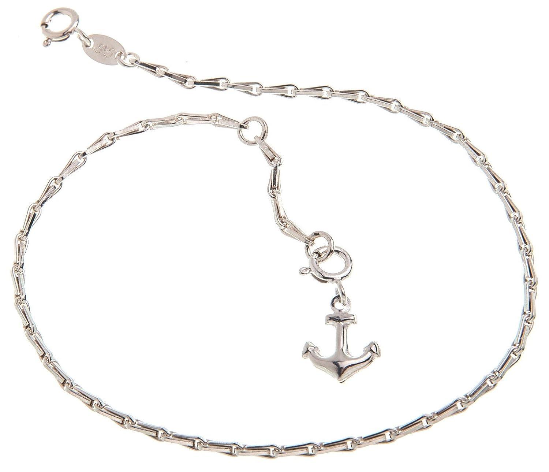 4mm Breite Fu/ßkette Silber Erbskette mit Anh/änger Anker L/änge w/ählbar 23cm-30cm echt 925 Silber