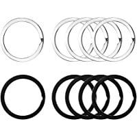 Hysagtek 50 Pcs 25mm Metal Key Ring Clasps Round Keychains Flat Split Rings for Home Car Keys Attachment Black and Silver