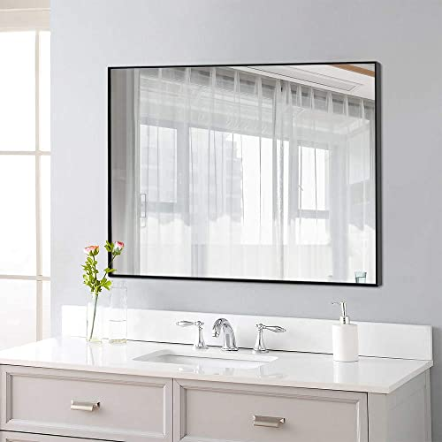 NeuType Rectangular Hanging Mirror Wall Mirror for Bathrooms, Entryways, Living Rooms and More 38 x 26 , Black Thin Frame