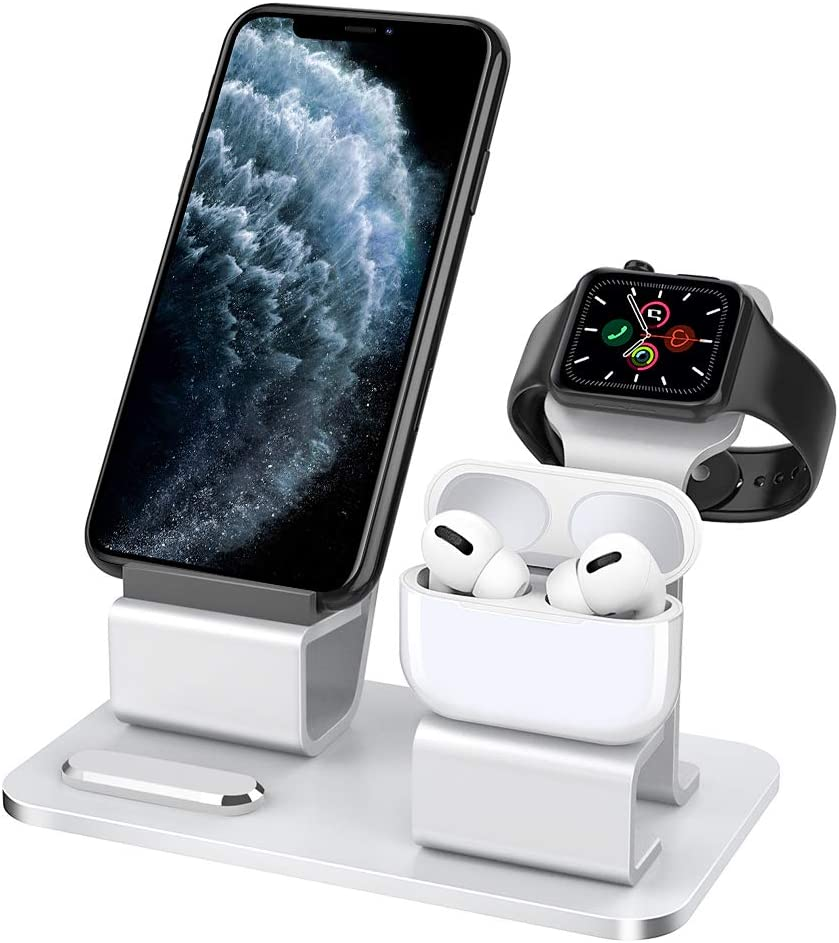 iPhone 11 Pro Max//11 Pro//11,iPhone XR//XS//Xs Max Support de Bureau pour Station Charger Sadapte iWatch Series 5 MoKo 3 en 1 Support Chargeur Station Compatible avec iPhone iWatch AirPods Series 4