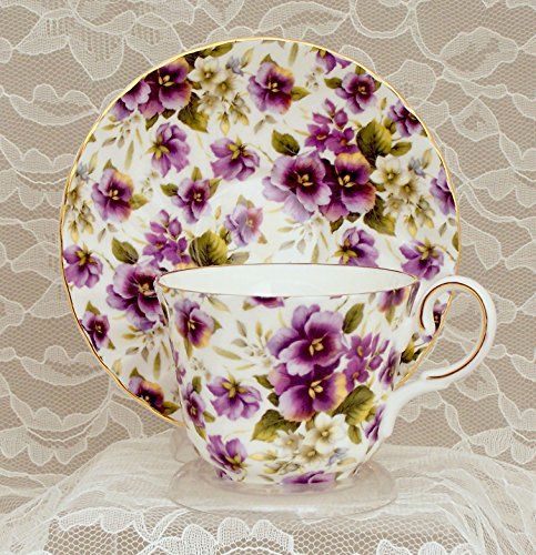TEA CUP AND SAUCER - Fine English Bone China (Cream Background Gold Trim)