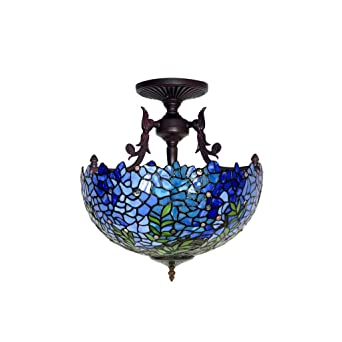 BHJqsy 16 pulgadas retro hermosa lámpara de techo wisteria ...