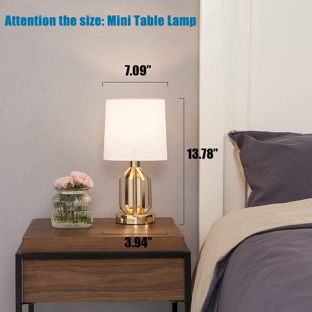 SOTTAE Fashionable Golden Lamp Hollowed Base Living Room Bedroom Bedside Table Lamp, Desk Lamps In White Fabric Shade