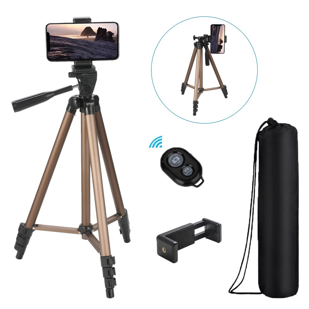 Tiitarn Phone Camera Tripod 50-Inch Lightweight Tripod with Bag+Bluetooth Remote Perfect Compatible Travel & Phone & Canon/Nikon/Sony Camera