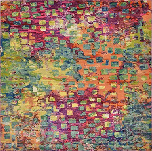 Jardine Collection - Unique Loom Jardin Collection Colorful Abstract Multi Square Rug (12' x 12')