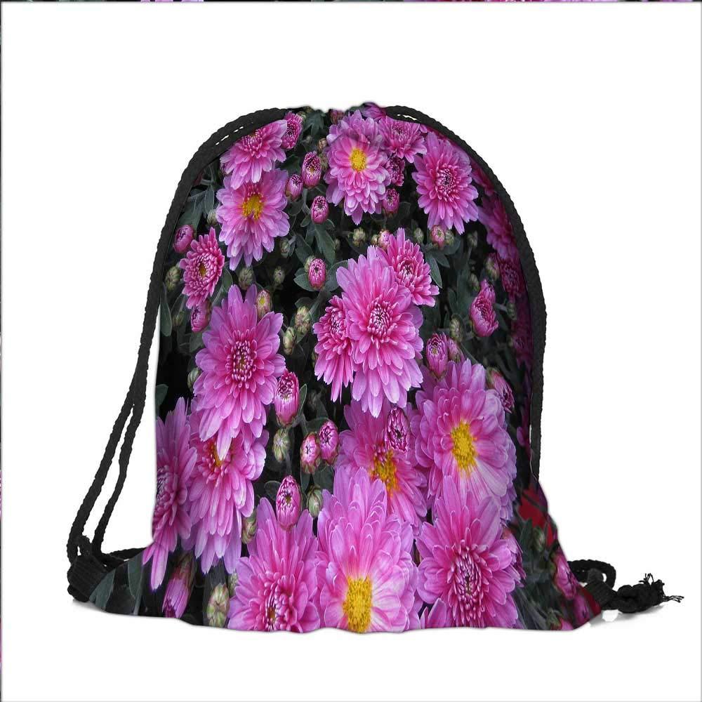 Travel Drawstring Closure Bag The blooming Astor Chrysanthemum Gift Bag Pouches 13''W x 18''H