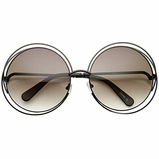 b42e4ced8da9 Amazon.com  Women s Oversized Full Metal Wire Frame Glamour Round Sunglasses  (Black Lavender)  Clothing