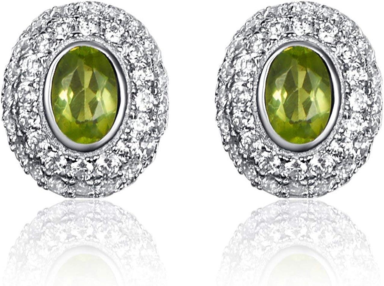 Natural Peridoto Oval Piedra Preciosa Pendientes/Colgante Collares para Mujer Plata de ley 925 con Verde Peridoto Piedra Natal de Agosto