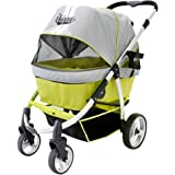 Double Dog Strollers for Large Dogs up to 77 Ibs, Aluminum Frame, 4-Wheel with Suspension