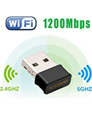 Maxesla Mini USB WiFi Adaptateur 1200Mbps Clé WiFi Dongle AC Dual Band, WiFi Wireless Adaptateur Compatible avec Windows 7/8/8.1/10 / Mac OS 10.7-10.12 / Mac OSX