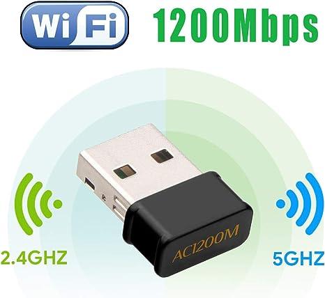 Maxesla WiFi USB Antena Adaptador 1200Mbps Mini WiFi Receptor Banda Dual 2.4G/5GHz, para PC Desktop Laptop Tablet, Soporta Windows 7/8/8.1/10 / Mac OS ...