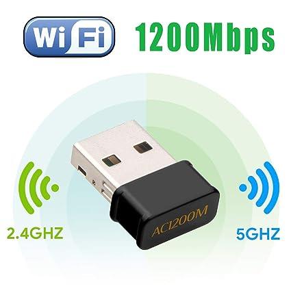 Maxesla WiFi USB Antena Adaptador 1200Mbps Mini WiFi Receptor Banda Dual 2.4G/5GHz,
