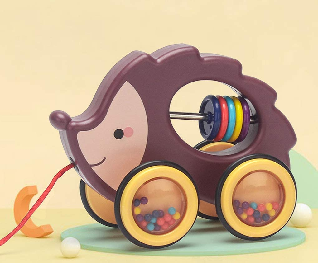 Hedgehog Moonlove Kids Cute Cartoon Animal Wooden Pull Along Car Toy Baby Infant First Walk Toy PreSchool Toy for Toddlers Baby Boys Girls Age Over 18 Months