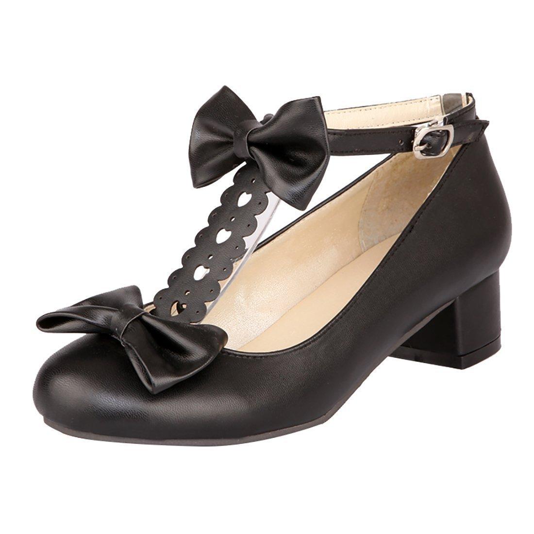 018b9fafb75f YE Damen T Spangen Rockabilly Pumps Blockabsatz High Heels mit Riemchen und  Schleife Süß Schuhe 38