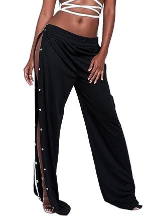 c8beed011d77f La Mujer Alta De Hendidura Lateral Boton Casual Pantalones Largos Pantalones  De Pierna Ancha  Amazon.es  Ropa y accesorios