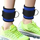 2 Pack Ankle Cuff Straps, Siming Double D Ring Strap Fitness Ankle Strap Adjustable Leg Wrist Belt For Gym Cable Machine Glute And Leg Butt Workouts(Blue)