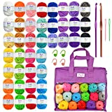 Mira Handcrafts 40 Mini Yarns with Non-Woven Crochet Knitting Carry Bag, 4 Crochet Locking Stitch Markers, 2 Crochet Hooks, 2 Plastic Needles, 7 Ebooks with Yarn Patterns – Ideal Crafts Yarn (Tamaño: 22 Yard - 40 Pack)