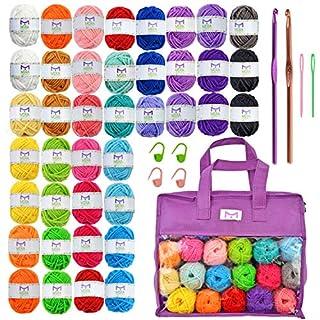 Mira Handcrafts 40 Mini Yarns with Non-Woven Crochet Knitting Carry Bag, 4 Crochet Locking Stitch Markers, 2 Crochet Hooks, 2 Plastic Needles, 7 Ebooks with Yarn Patterns – Ideal Crafts Yarn