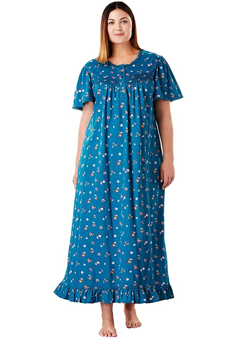 Victorian Nightgowns, Nightdress, Pajamas, Robes Dreams & Co. Womens Plus Size Long Cotton Gown $29.99 AT vintagedancer.com
