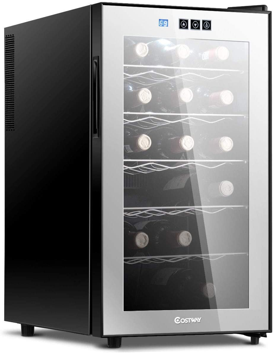 Costway Thermoelectric Wine Cooler Freestanding Cellar Chiller Refrigerator Quiet Compact w/Touch Control (18 Bottle)