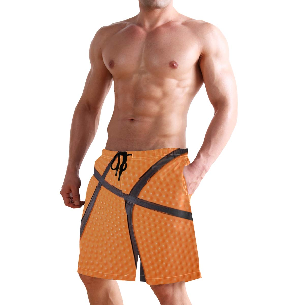 KUWT Mens Swim Trunks Sport Ball Basketball Print Quick Dry Beach Shorts Summer Surf Board Shorts