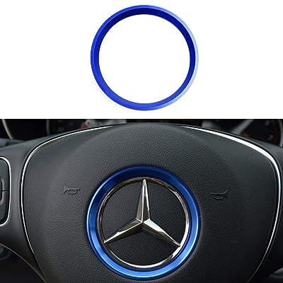 DEMILLO Sports Aluminum Steering Wheel Center Decoration Cover Trim for Mercedes B C E CLA GLA GLC GLK Class(Blue, 2'' Inner Ring Size): Automotive