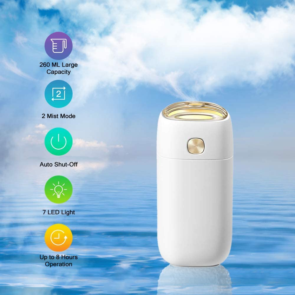 IHOMEINF Humidifiers for Bedroom, Mini USB Car Humidifier, 260ml Mini Portable Humidifiers Air Purifier with 7 Colors LED Night Light White