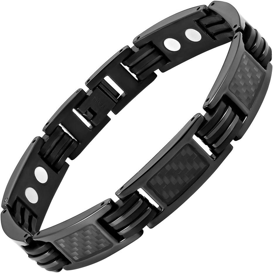 Willis Judd Mens Carbon Fiber Titanium Magnetic Bracelet Size Adjusting Tool and Gift Box Included (8.5inch)